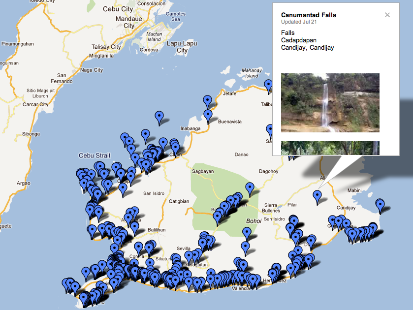 Map of tourist sites on Bohol