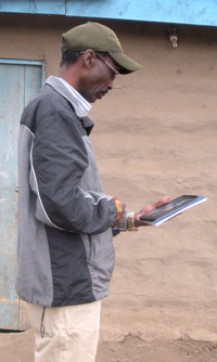 Enumerator entering data into ODK