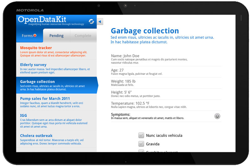 Mockup of ODK Collect with tablet-friendly redesign